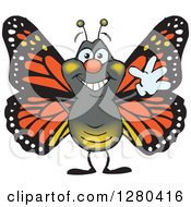 Clipart Of A Friendly Waving Monarch Butterfly Royalty Free Vector Illustration
