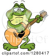 Clipart Of A Happy Bullfrog Playing An Acoustic Guitar Royalty Free Vector Illustration