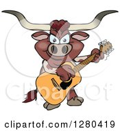 Clipart Of A Texas Longhorn Bull Playing An Acoustic Guitar Royalty Free Vector Illustration by Dennis Holmes Designs