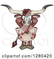 Clipart Of A Happy Longhorn Bull Standing Royalty Free Vector Illustration by Dennis Holmes Designs