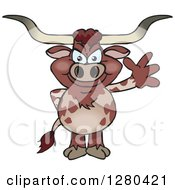 Clipart Of A Friendly Waving Longhorn Bull Royalty Free Vector Illustration by Dennis Holmes Designs