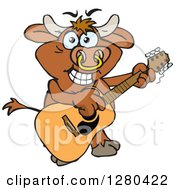 Clipart Of A Happy Bull Playing An Acoustic Guitar Royalty Free Vector Illustration by Dennis Holmes Designs