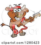 Clipart Of A Happy Bull Playing An Electric Guitar Royalty Free Vector Illustration by Dennis Holmes Designs