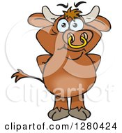 Clipart Of A Happy Brown Bull Standing Royalty Free Vector Illustration