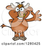 Clipart Of A Friendly Waving Brown Bull Royalty Free Vector Illustration by Dennis Holmes Designs