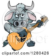 Clipart Of A Happy Brahman Bull Playing An Acoustic Guitar Royalty Free Vector Illustration