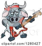 Clipart Of A Happy Brahman Bull Playing An Electric Guitar Royalty Free Vector Illustration