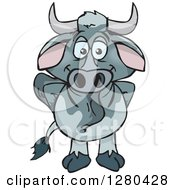 Clipart Of A Happy Brahman Bull Standing Royalty Free Vector Illustration by Dennis Holmes Designs