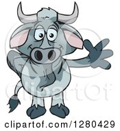 Clipart Of A Friendly Waving Brahman Bull Royalty Free Vector Illustration