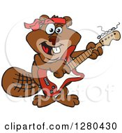 Clipart Of A Happy Beaver Playing An Electric Guitar Royalty Free Vector Illustration by Dennis Holmes Designs