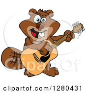 Clipart Of A Happy Beaver Playing An Acoustic Guitar Royalty Free Vector Illustration by Dennis Holmes Designs
