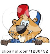 Clipart Of A Happy Builder Beaver Peeking Over A Sign Royalty Free Vector Illustration by Dennis Holmes Designs