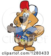 Clipart Of A Happy Builder Beaver Giving A Thumb Up Royalty Free Vector Illustration by Dennis Holmes Designs