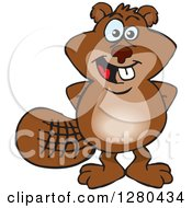 Clipart Of A Happy Beaver Standing With His Hands Behind His Back Royalty Free Vector Illustration