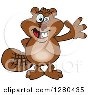 Clipart Of A Happy Beaver Waving Royalty Free Vector Illustration by Dennis Holmes Designs