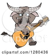 Clipart Of A Happy Buffalo Playing An Acoustic Guitar Royalty Free Vector Illustration by Dennis Holmes Designs