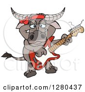 Clipart Of A Happy Buffalo Playing An Electric Guitar Royalty Free Vector Illustration by Dennis Holmes Designs