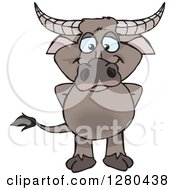 Clipart Of A Happy Buffalo Standing Royalty Free Vector Illustration
