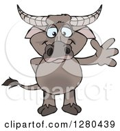 Clipart Of A Happy Buffalo Standing And Waving Royalty Free Vector Illustration by Dennis Holmes Designs