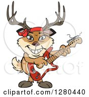 Clipart Of A Happy Buck Deer Playing An Electric Guitar Royalty Free Vector Illustration by Dennis Holmes Designs