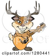Clipart Of A Happy Buck Deer Playing An Acoustic Guitar Royalty Free Vector Illustration by Dennis Holmes Designs