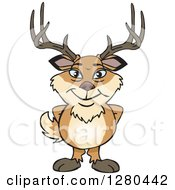 Clipart Of A Happy Deer Buck Standing Royalty Free Vector Illustration
