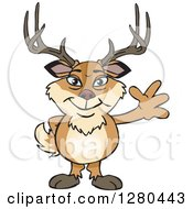 Clipart Of A Friendly Waving Deer Buck Standing Royalty Free Vector Illustration by Dennis Holmes Designs