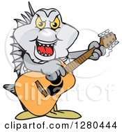 Clipart Of A Bream Fish Playing An Acoustic Guitar Royalty Free Vector Illustration by Dennis Holmes Designs
