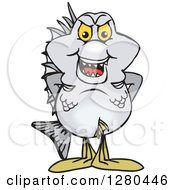 Clipart Of A Bream Fish Standing Royalty Free Vector Illustration by Dennis Holmes Designs