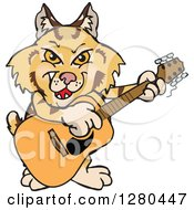 Clipart Of A Happy Bobcat Playing An Acoustic Guitar Royalty Free Vector Illustration