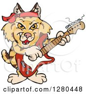 Clipart Of A Happy Bobcat Playing An Electric Guitar Royalty Free Vector Illustration