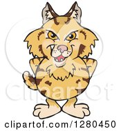 Clipart Of A Grinning Bobcat Standing Royalty Free Vector Illustration by Dennis Holmes Designs