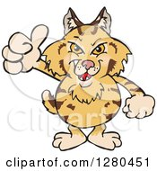 Clipart Of A Grinning Bobcat Holding A Thumb Up Royalty Free Vector Illustration