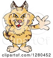 Clipart Of A Waving Grinning Bobcat Royalty Free Vector Illustration