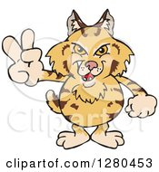 Clipart Of A Grinning Bobcat Gesturing Peace Royalty Free Vector Illustration