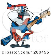 Clipart Of A Happy Blue Jay Playing An Electric Guitar Royalty Free Vector Illustration by Dennis Holmes Designs