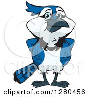 Clipart Of A Blue Jay Bird Standing Royalty Free Vector Illustration