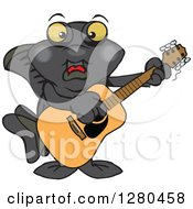 Clipart Of A Happy Black Moor Fish Playing An Acoustic Guitar Royalty Free Vector Illustration by Dennis Holmes Designs