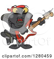 Clipart Of A Happy Black Moor Fish Playing An Electric Guitar Royalty Free Vector Illustration by Dennis Holmes Designs