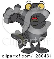 Clipart Of A Black Moor Fish Giving A Thumb Up Royalty Free Vector Illustration by Dennis Holmes Designs