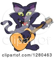 Clipart Of A Black Cat Playing An Acoustic Guitar Royalty Free Vector Illustration by Dennis Holmes Designs