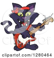 Clipart Of A Black Cat Playing An Electric Guitar Royalty Free Vector Illustration by Dennis Holmes Designs