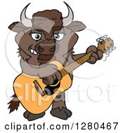 Clipart Of A Happy Bison Playing An Acoustic Guitar Royalty Free Vector Illustration by Dennis Holmes Designs