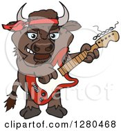Clipart Of A Happy Bison Playing An Electric Guitar Royalty Free Vector Illustration by Dennis Holmes Designs