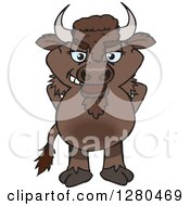 Clipart Of A Bison Standing Royalty Free Vector Illustration