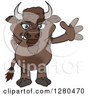 Clipart Of A Bison Waving Royalty Free Vector Illustration