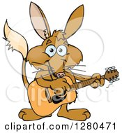 Clipart Of A Happy Bilby Playing An Acoustic Guitar Royalty Free Vector Illustration by Dennis Holmes Designs