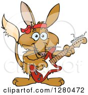Clipart Of A Happy Bilby Playing An Electric Guitar Royalty Free Vector Illustration by Dennis Holmes Designs