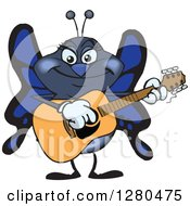 Clipart Of A Happy Blue Butterfly Playing An Acoustic Guitar Royalty Free Vector Illustration