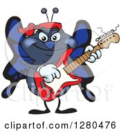 Clipart Of A Happy Blue Butterfly Playing An Electric Guitar Royalty Free Vector Illustration